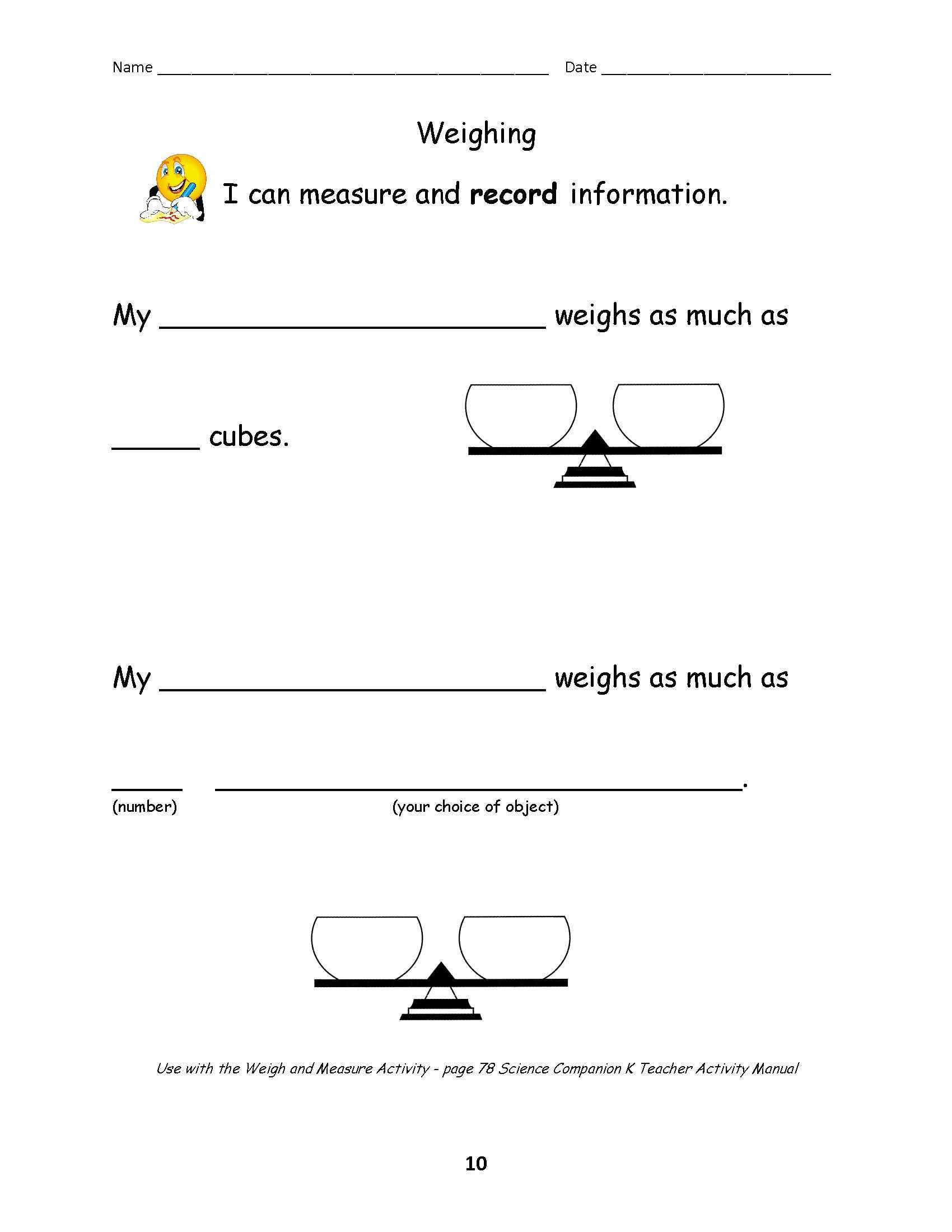 Science Instruments and Measurement Worksheet Answers with Silly Science Worksheet Answers Worksheets for All