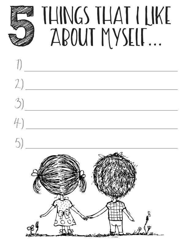 Self Esteem Worksheets for Elementary Students or Free Printable Self Esteem Worksheets