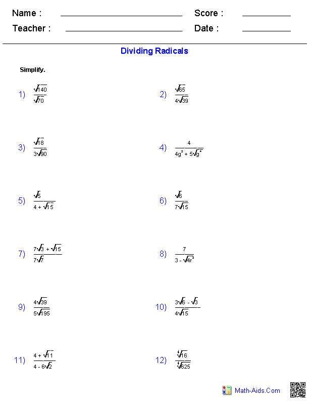 Simplifying Radical Expressions Worksheet Answers Also Dividing Radical Expressions Worksheets