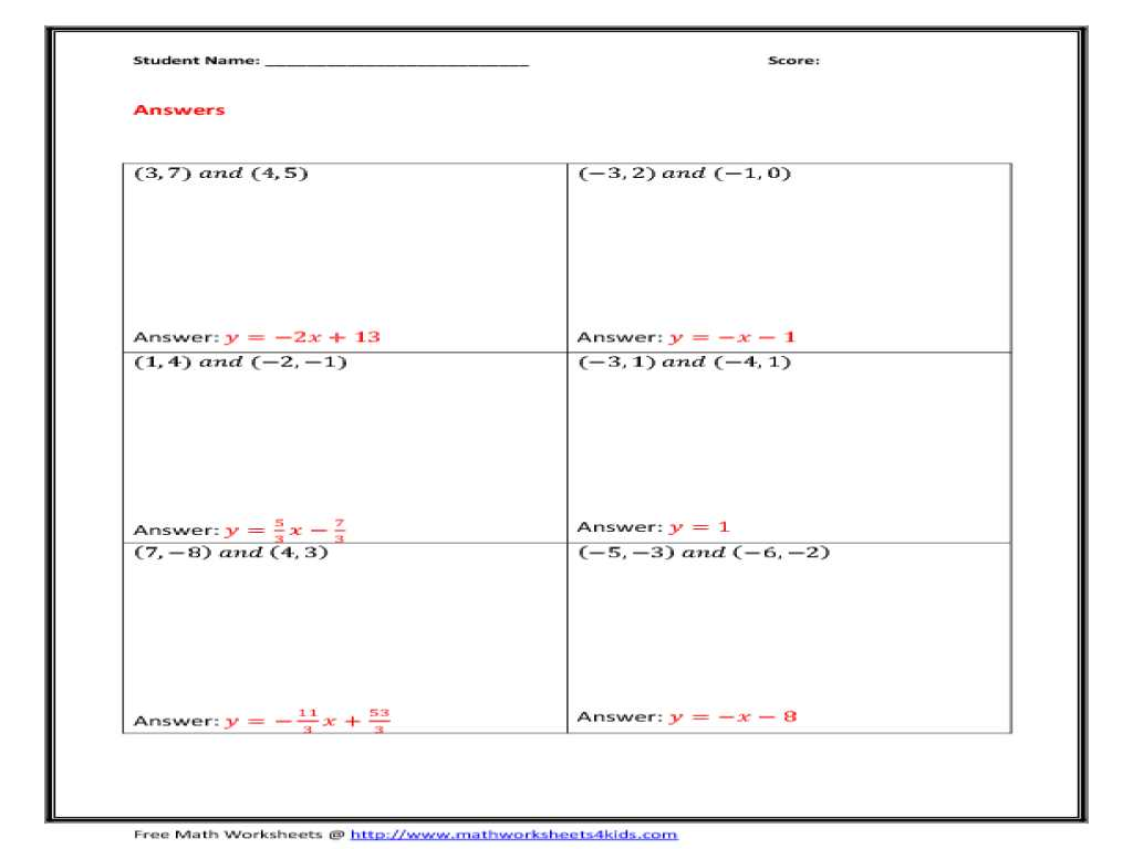 Slope Intercept form Practice Worksheet as Well as Finding Slope From Two Points Worksheet 17 Worksheet