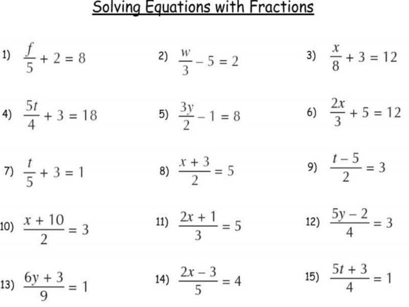 Solving Equations with Variables On Both Sides with Fractions Worksheet and solving Multi Step Equations Worksheet