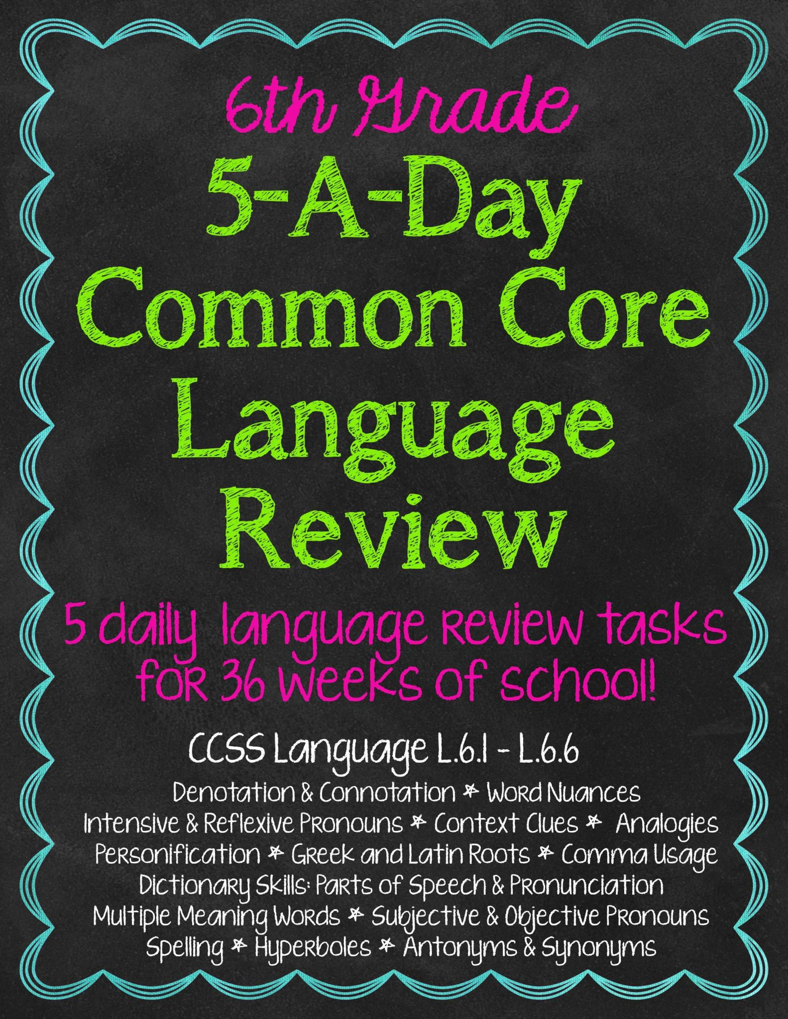 Staying On Task Worksheets and 6th Grade Daily Language Spiral Review Morning Work Editable