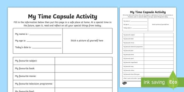 Stem Activity Worksheets and My Time Capsule Worksheet Activity Sheet Time Capsule End