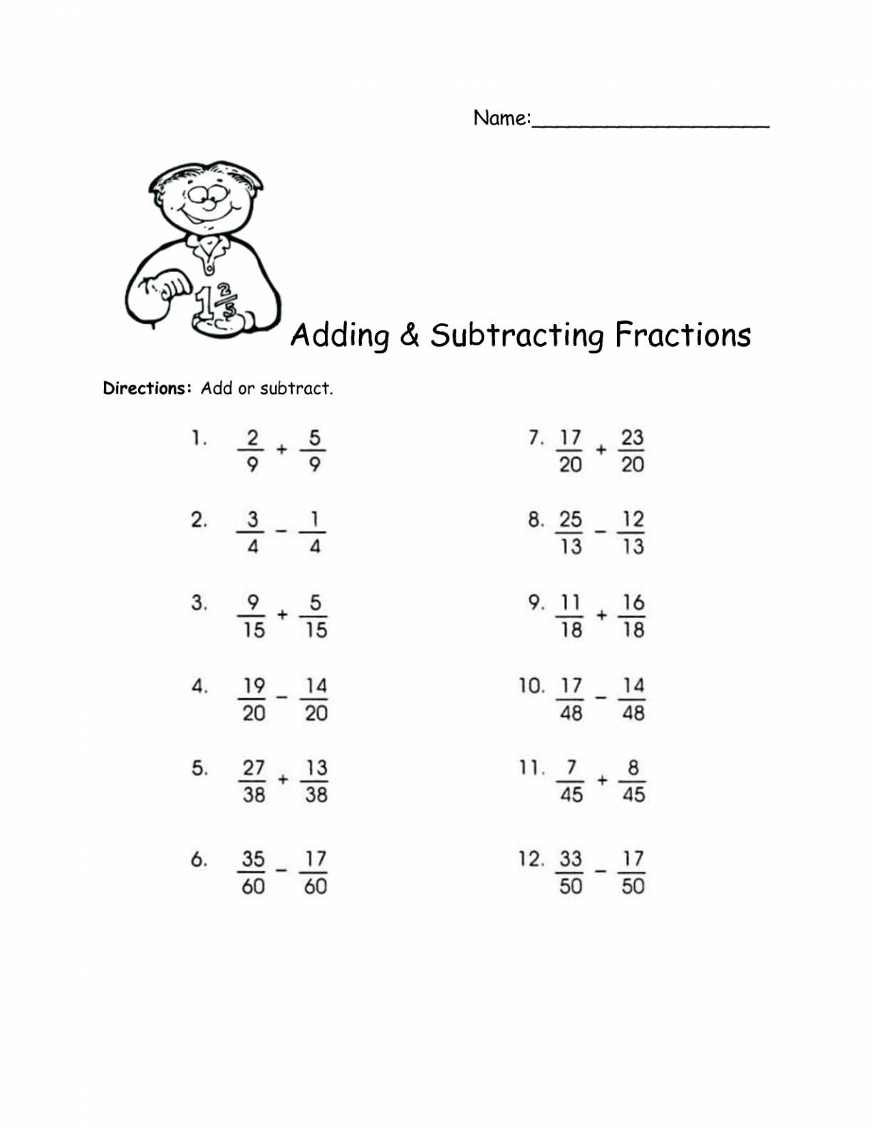 Subtracting Fractions with Unlike Denominators Worksheet together with Adding Subtracting Fractions Worksheets Mixed Pdf and with Unlike