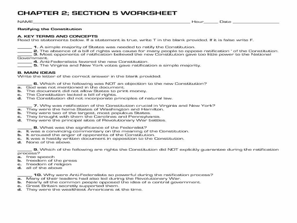 The Constitutional Convention Worksheet Also Analysis the Constitution Worksheet Answers Worksheet Res