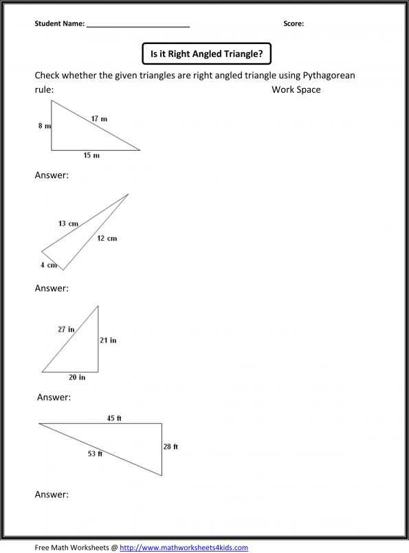 The Pythagorean theorem Worksheet Answers together with Grade 8 Math Worksheets Free Library and Maths with Answers