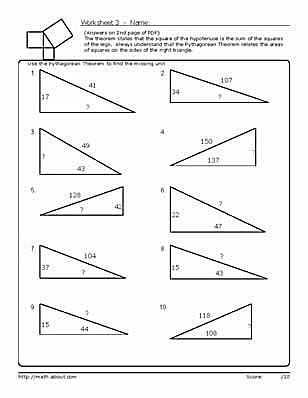 The Pythagorean theorem Worksheet Answers with Practice Using the Pythagorean theorem with these Geometry