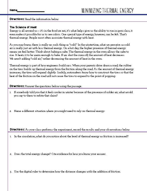 Thermal Energy Note Taking Worksheet Answers Along with Free Stem Worksheets