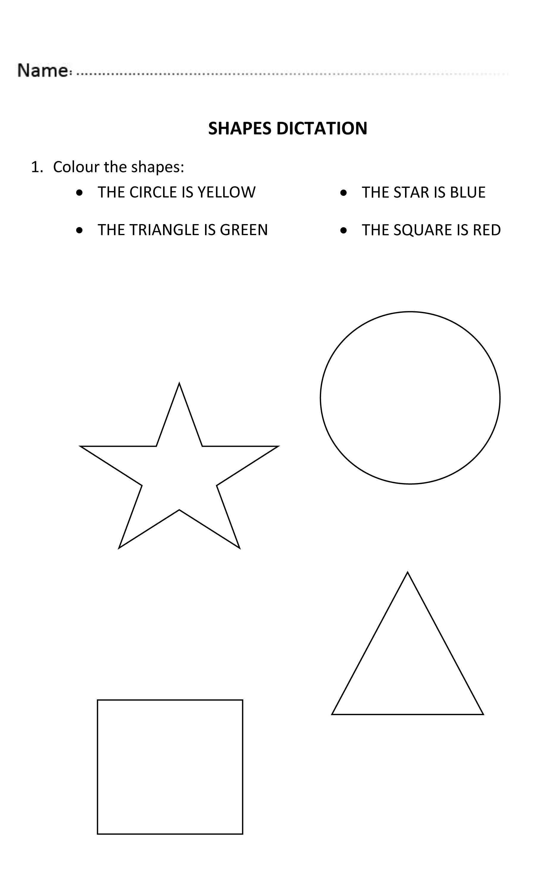 Traceable Name Worksheets or Fun Shapes Dictation for Nursery and Reception Students