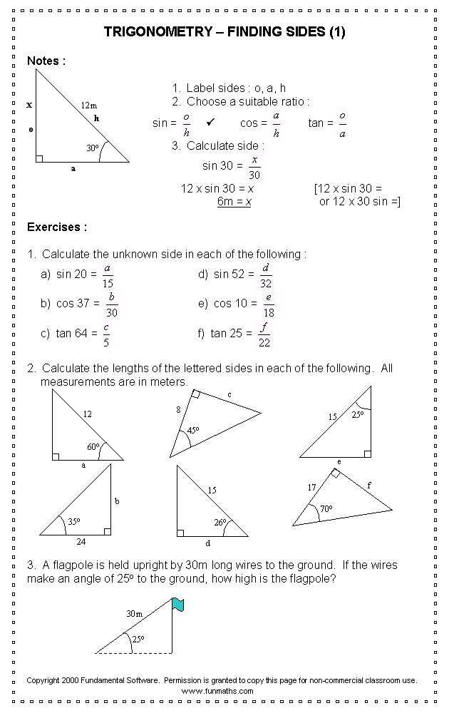 Trigonometry Worksheets with Answers and 97 Best Fun Maths Work Sheets Images On Pinterest