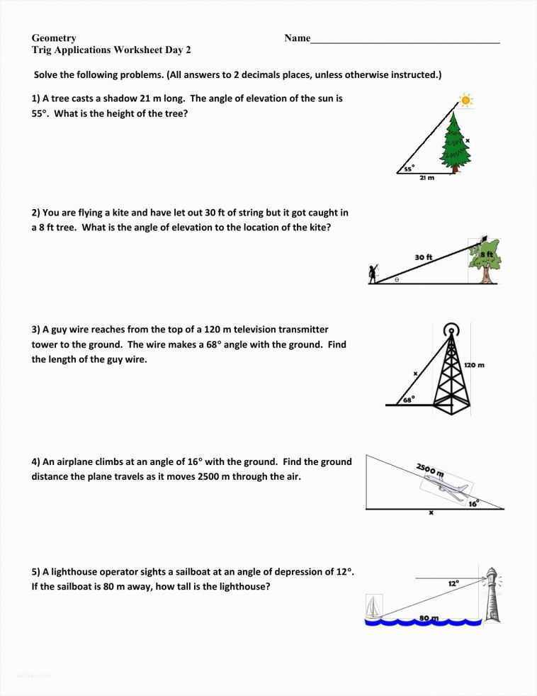 Trigonometry Worksheets with Answers and Fresh Angle Elevation and Depression Trig Worksheet – Sabaax