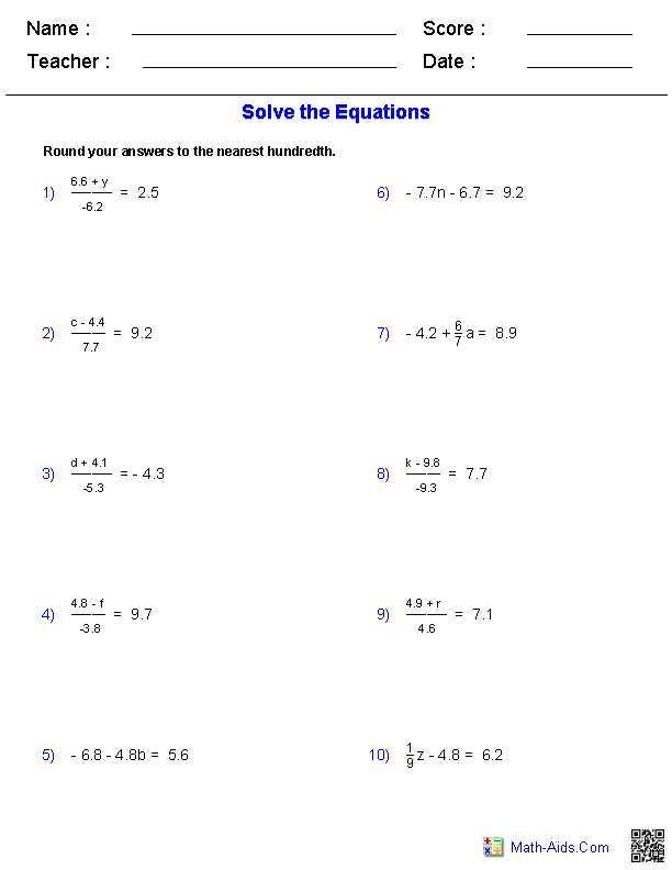 Two Variable Equations Worksheet or Worksheet Works solving Two Step Equations Answers aslitherair