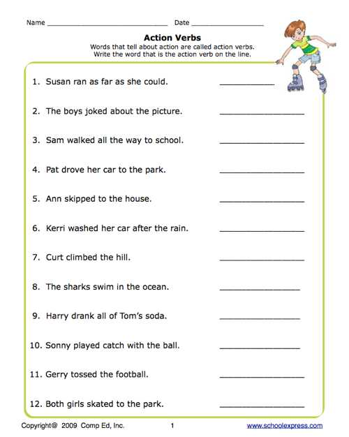 Verb Worksheets 2nd Grade and Action Verb Worksheets for Grade 1