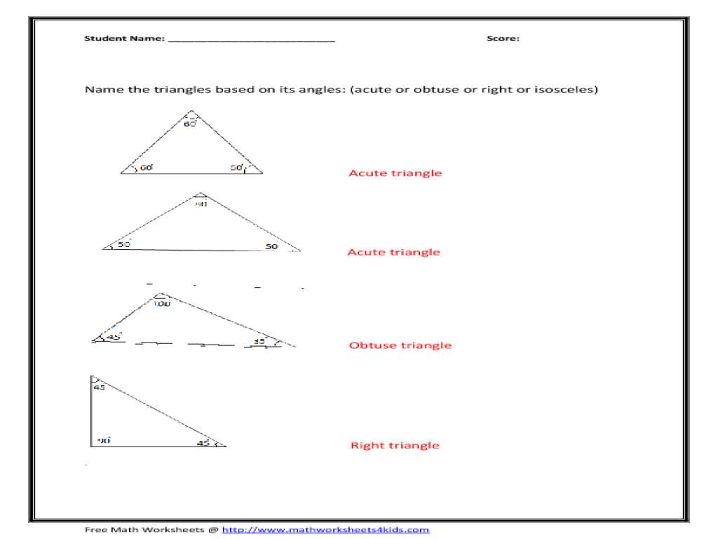 Worksheet Triangle Sum and Exterior Angle theorem Answers together with Important Triangles Worksheet 5th Grade Goodsnyc
