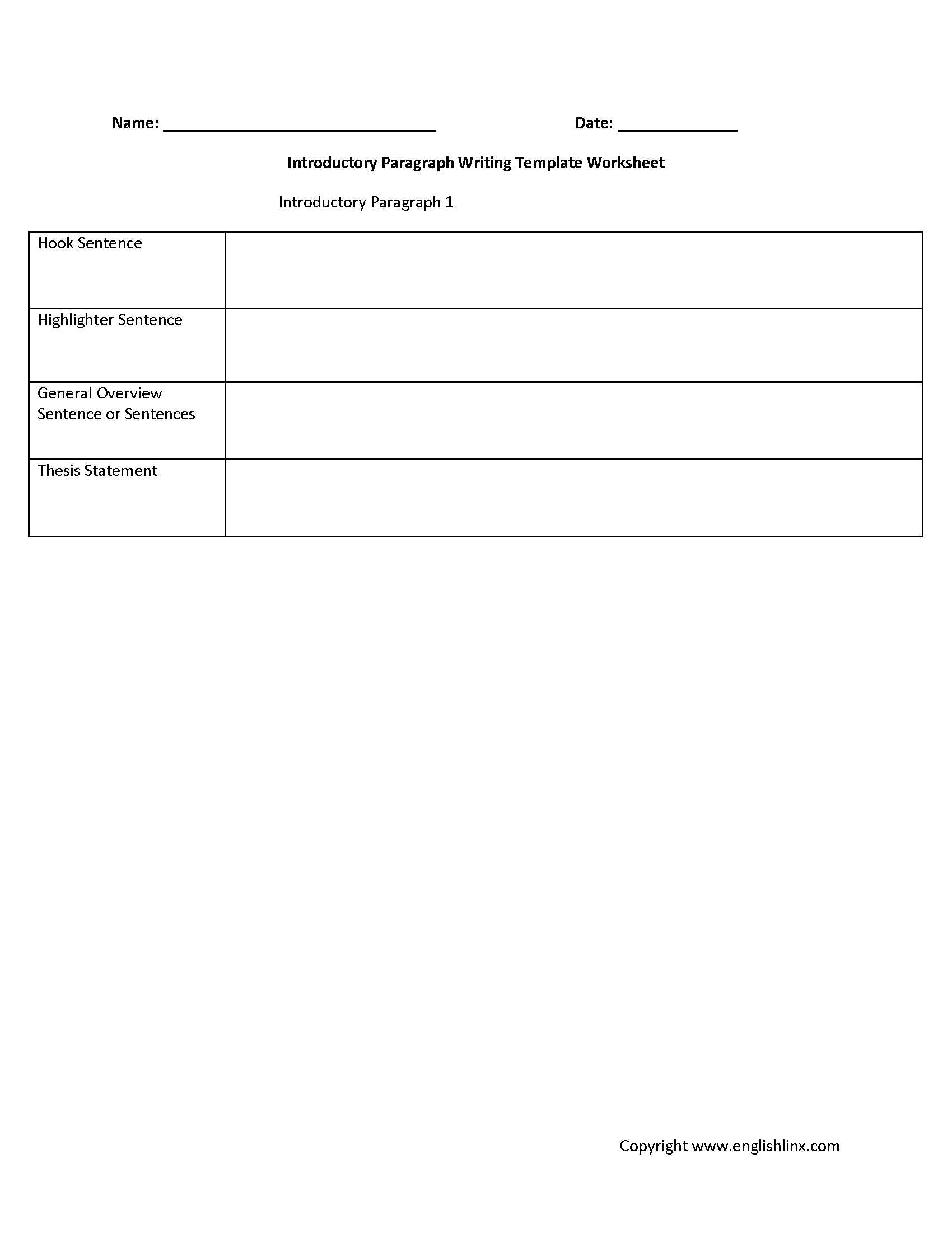 Writing Sentences Worksheets Along with Introductory Paragraph Writing Template Worksheet