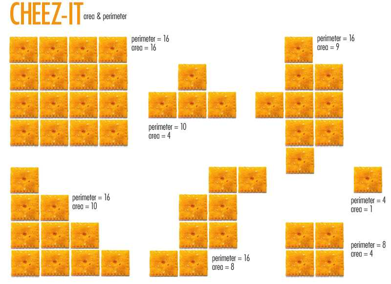3rd Grade Geometry Worksheets as Well as E is for Explore Cheez It area & Perimeter