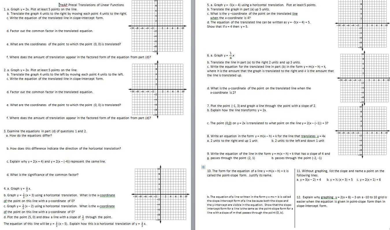 Algebra 1 Slope Worksheet