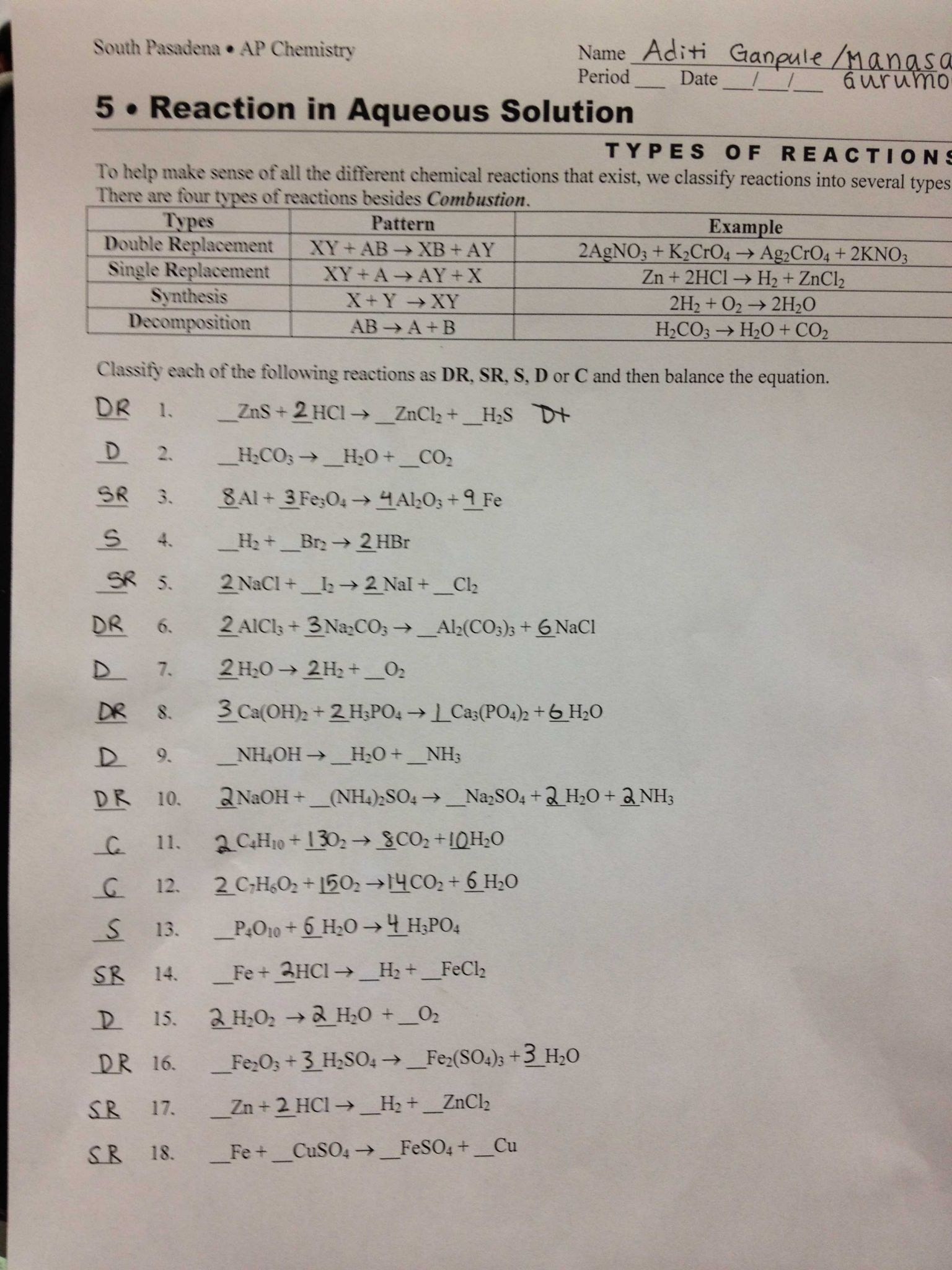 Balancing Chemical Equations Worksheet Answer Key Also Types Reactions Worksheet Doc