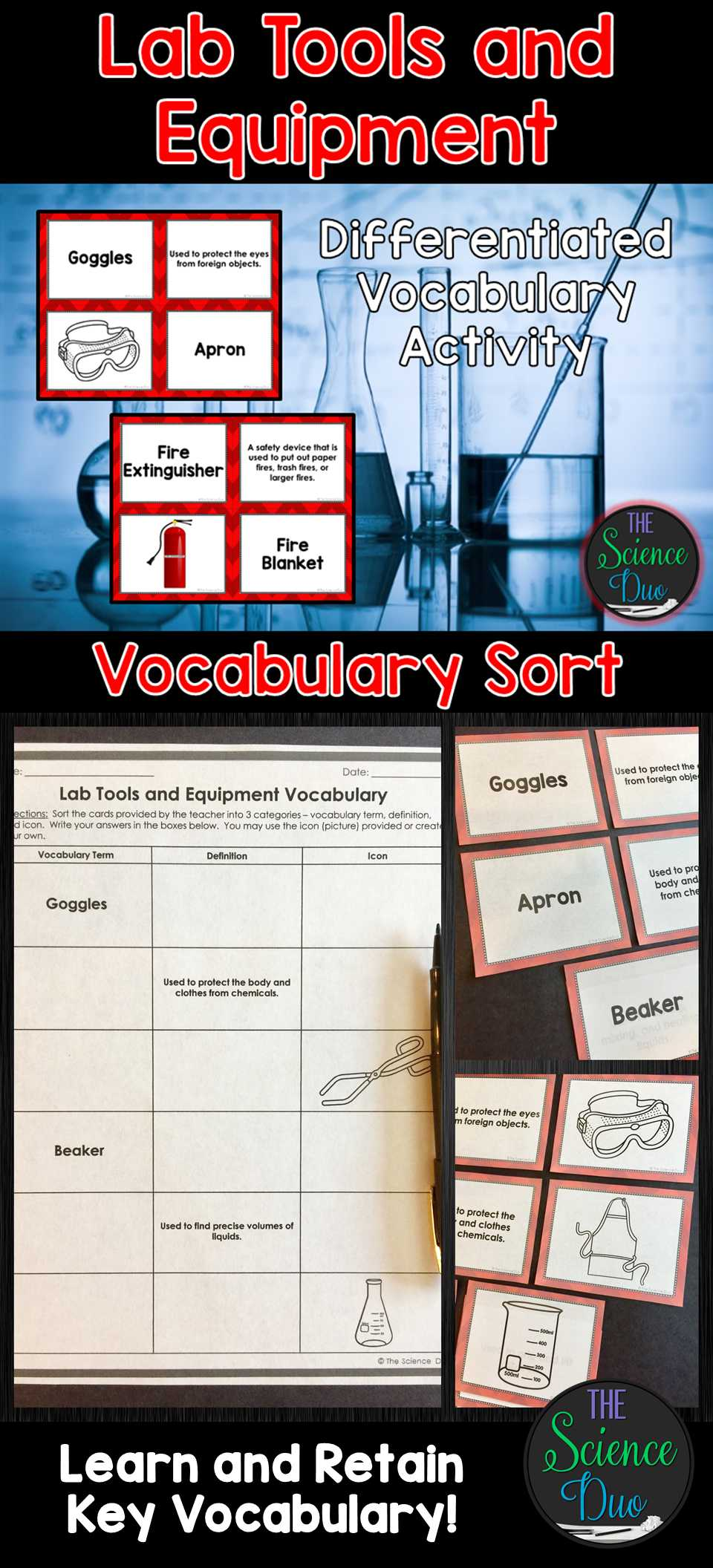 Bill Nye Scientific Method Worksheet with Science Lab tool and Equipment Vocabulary sort