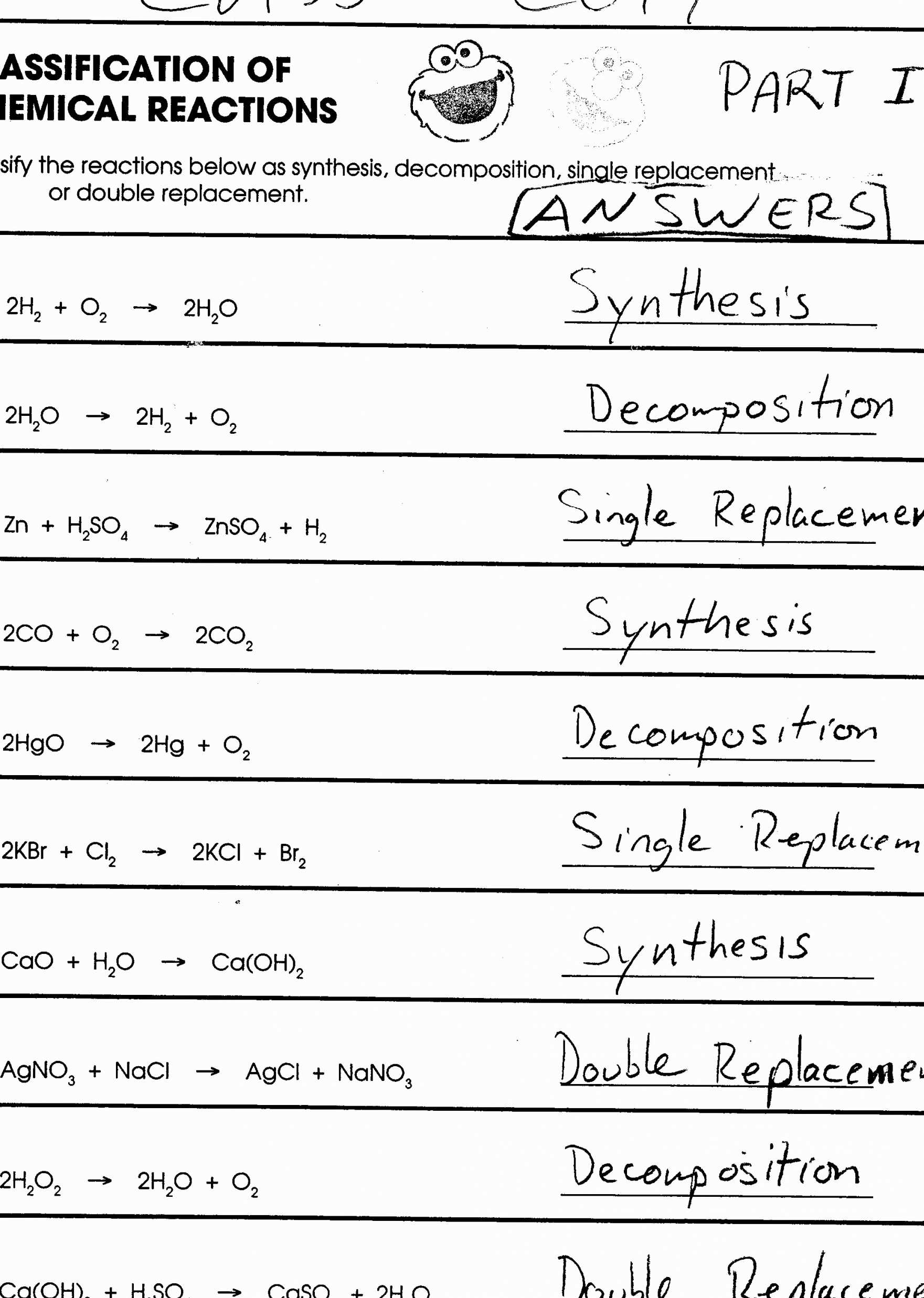 Chemical Reaction Worksheet Answers Or Balancing Chemical