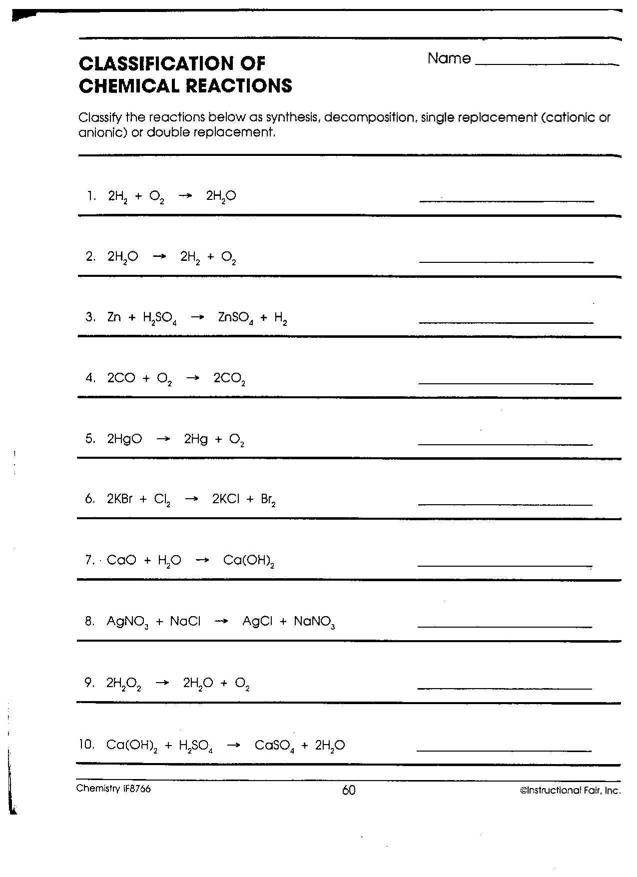 Chemical Reaction Worksheet Answers or Classification Chemical Reactions Worksheet Answers New Dc Heath