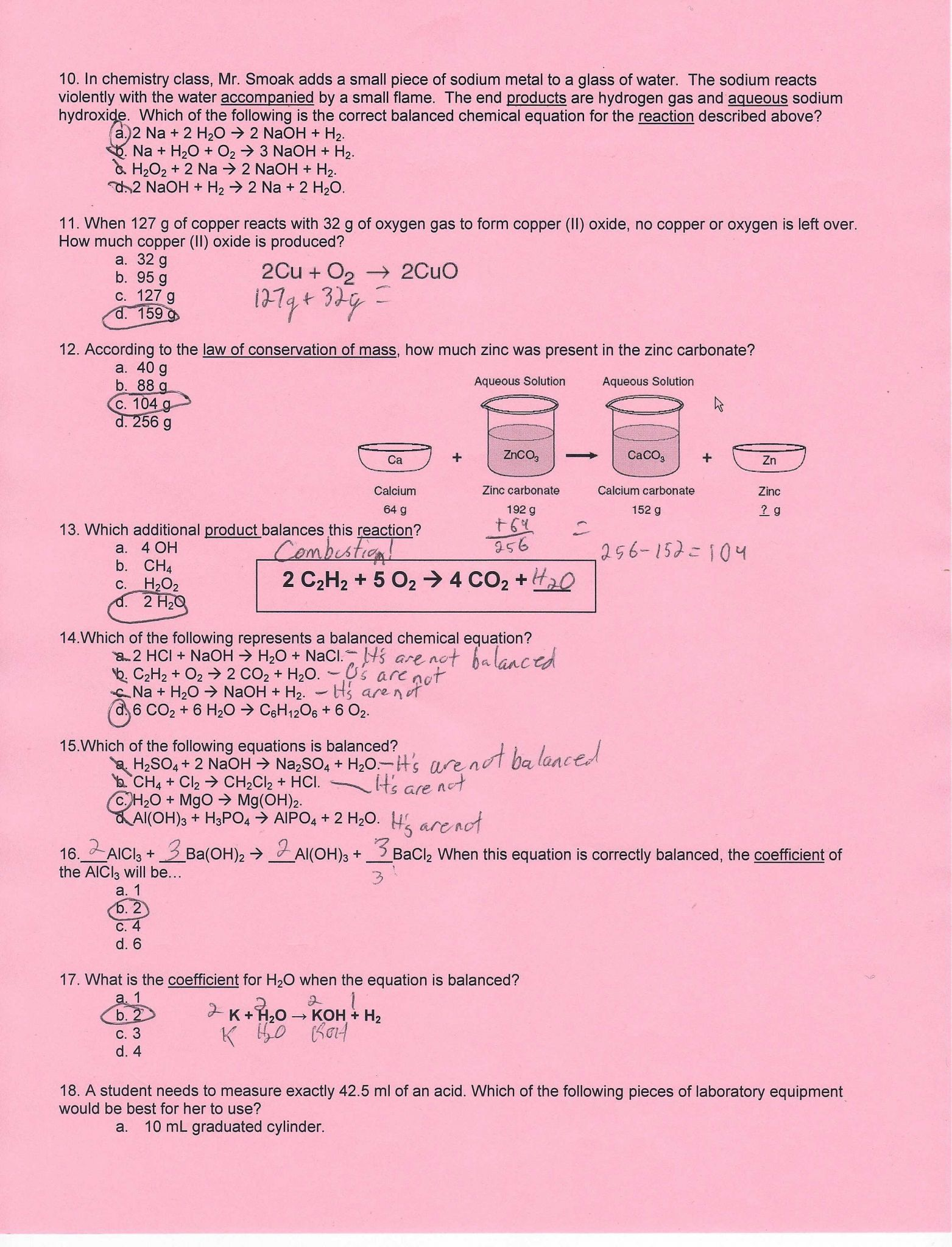 Chemical Reaction Worksheet Answers With Worksheet Writing