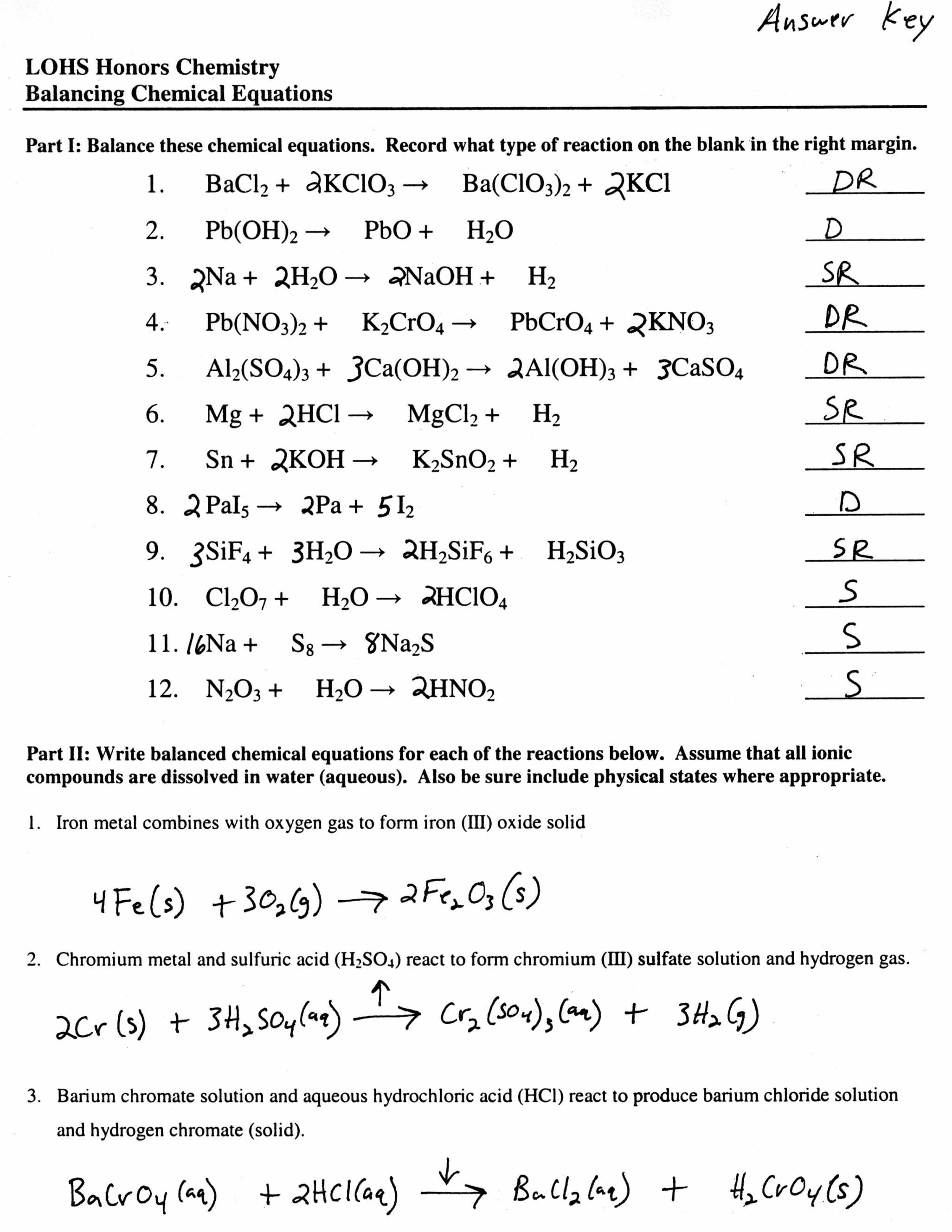 Classification Of Chemical Reactions Worksheet Along with Worksheet Types Reactions Worksheet Answers Picture