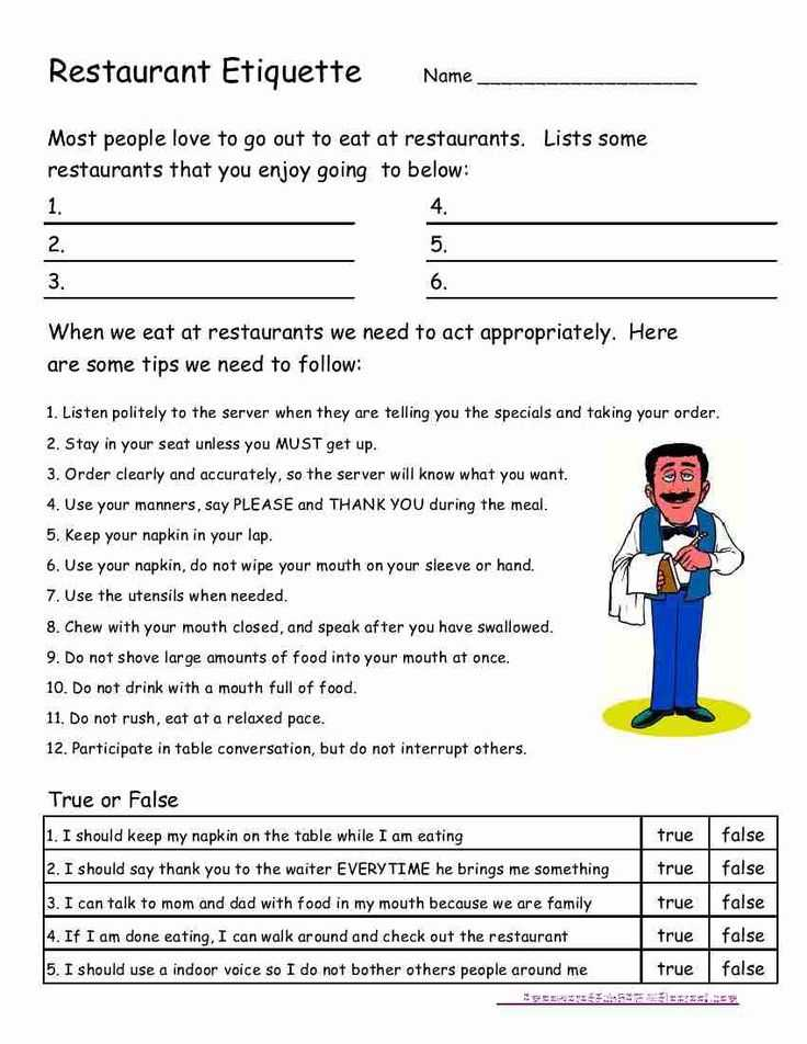 Crime Scene Activity Worksheets Along with Empowered by them Restaurant Etiquette