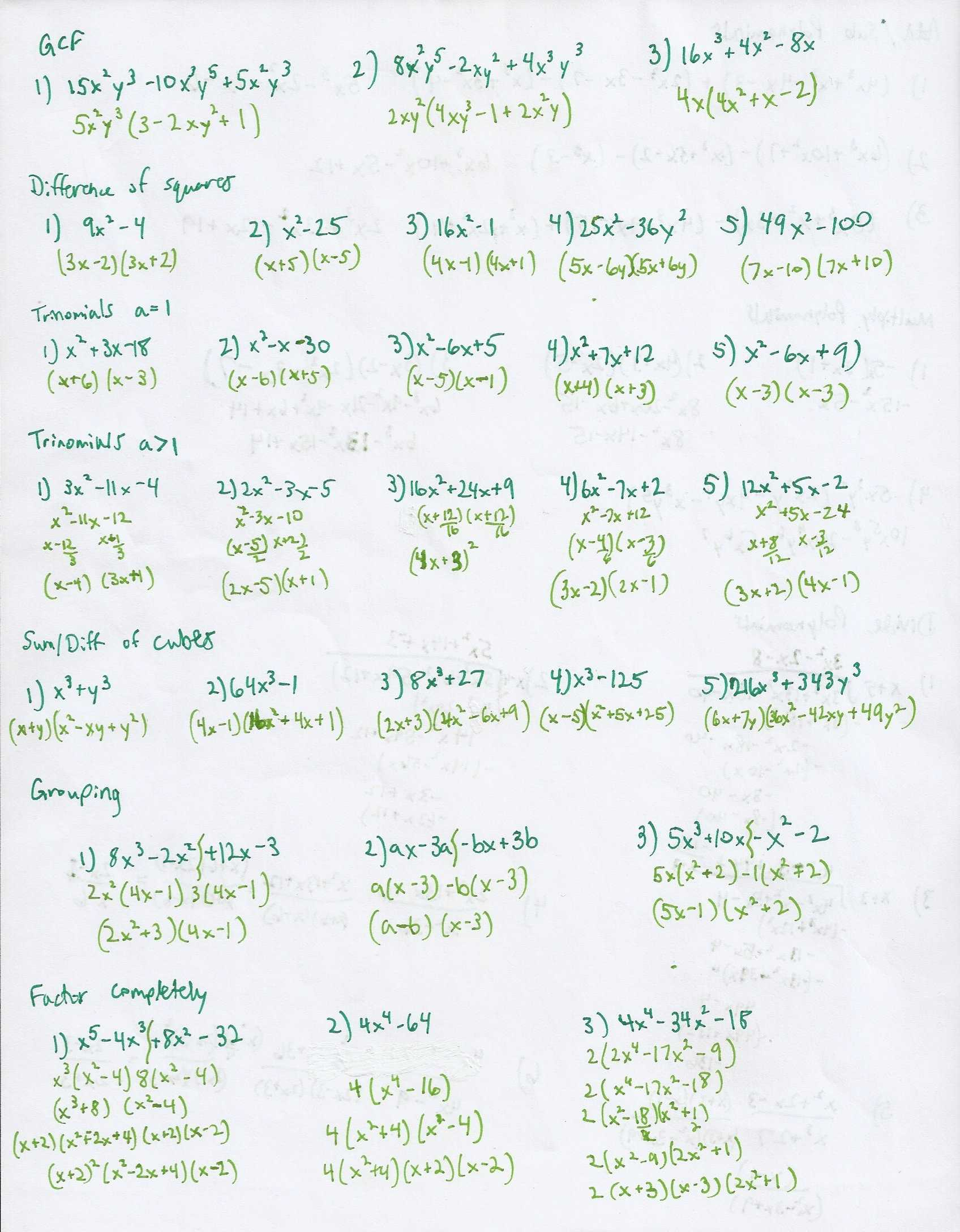 Factoring By Grouping Worksheet Together With Factor