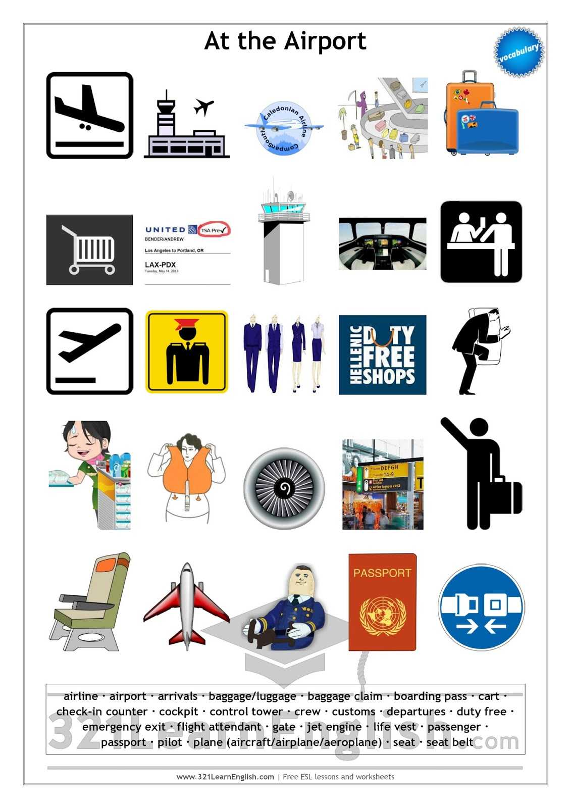 Free English Worksheets and 321 Learn English Vocabulary at the Airport Level B1