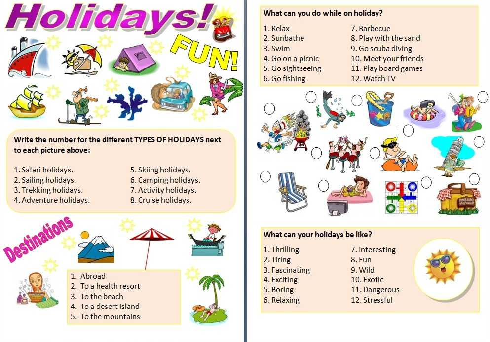 Free English Worksheets and English Stuff Esl Summer Holidays Intermediate