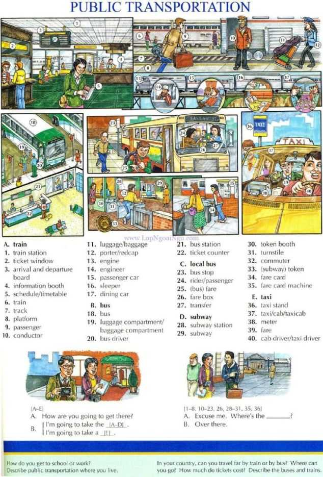 Free English Worksheets with Transport and Travelling Vocabulary