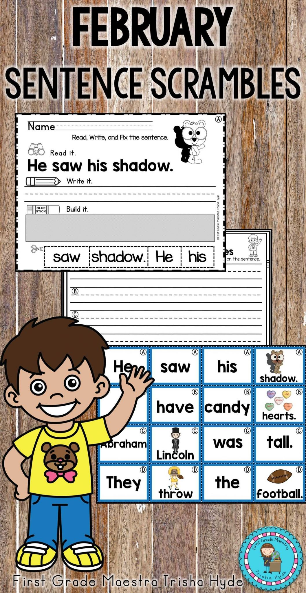 Free Sentence Scramble Worksheets Along with February Sentence Scrambles