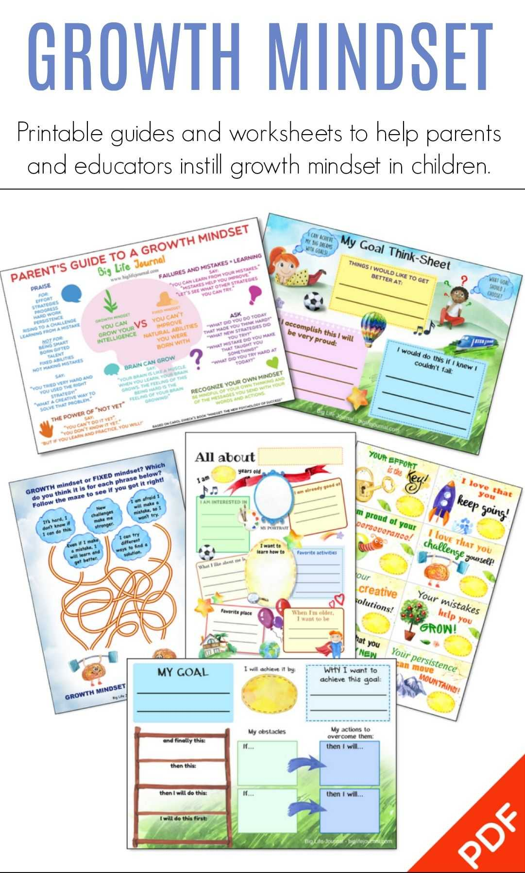 Life Skills Worksheets And Growth Mindset Printables