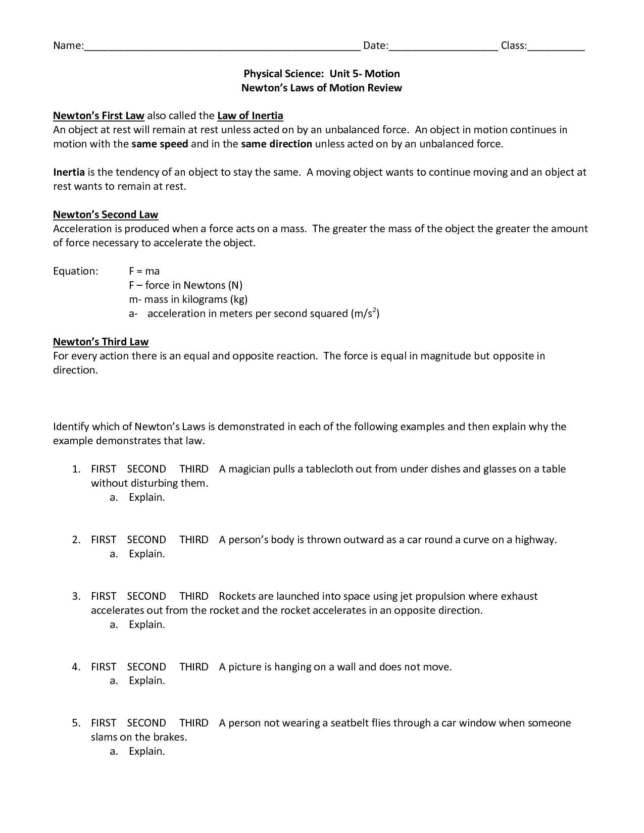Physical Science Worksheet Conservation Of Energy 2 Answer