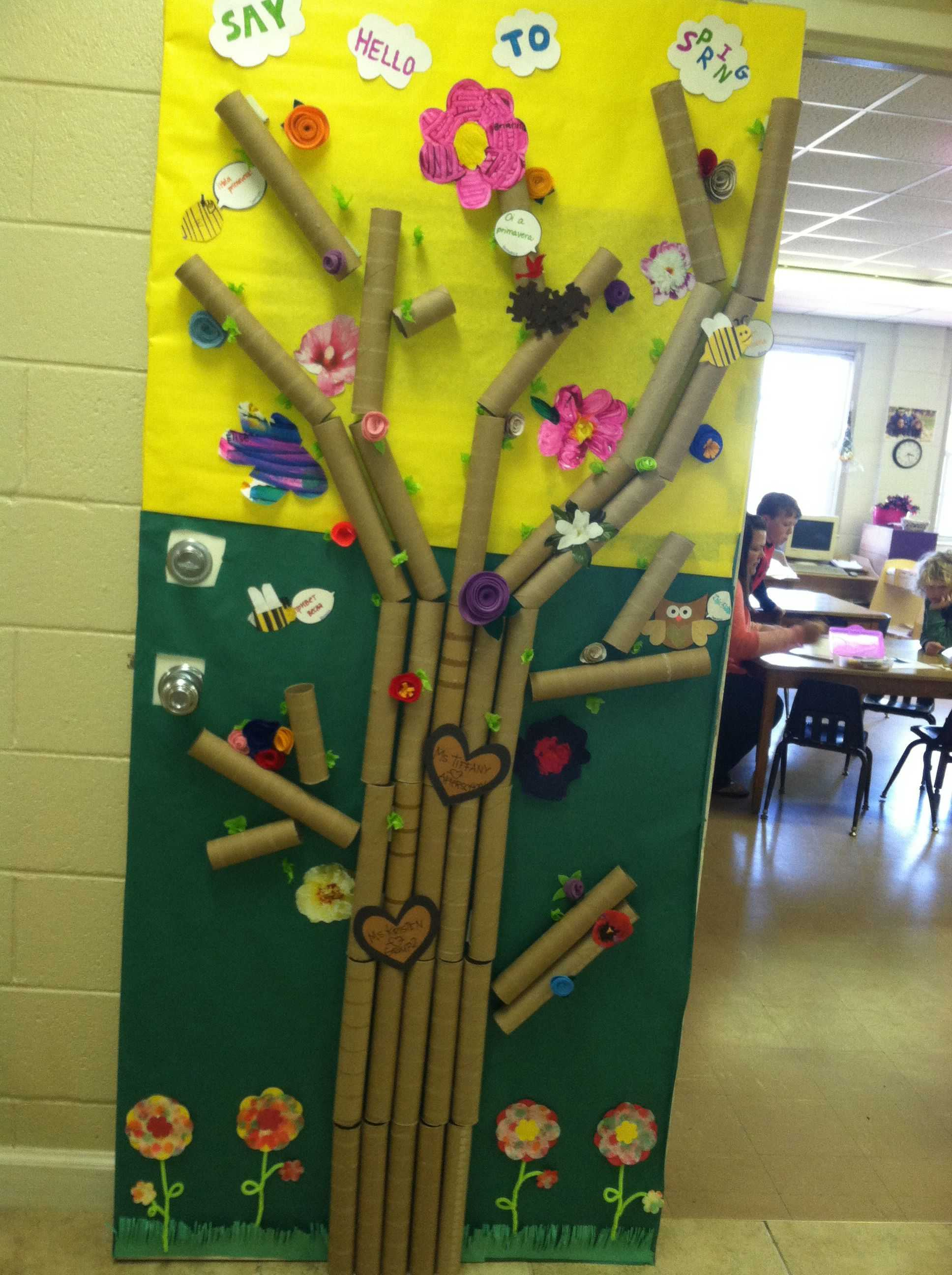 Recycling Worksheets for Kids Along with Classroom Spring Door Using A Variety Of Recycled Art Materials