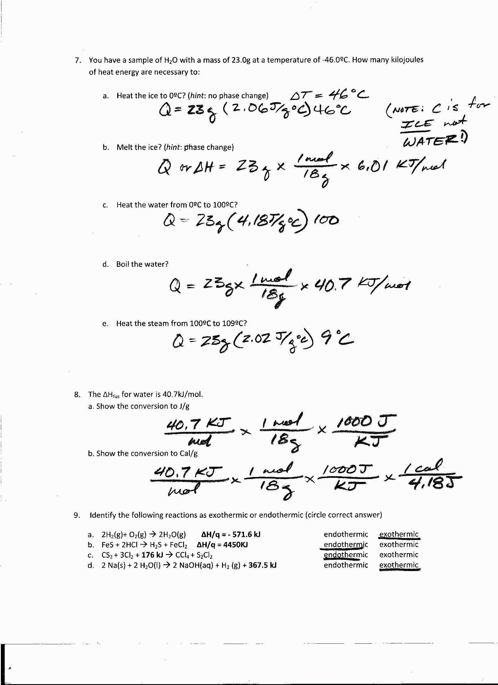 Redox Reaction Worksheet with Answers Also 14 Lovely Worksheet Heat and Heat Calculations