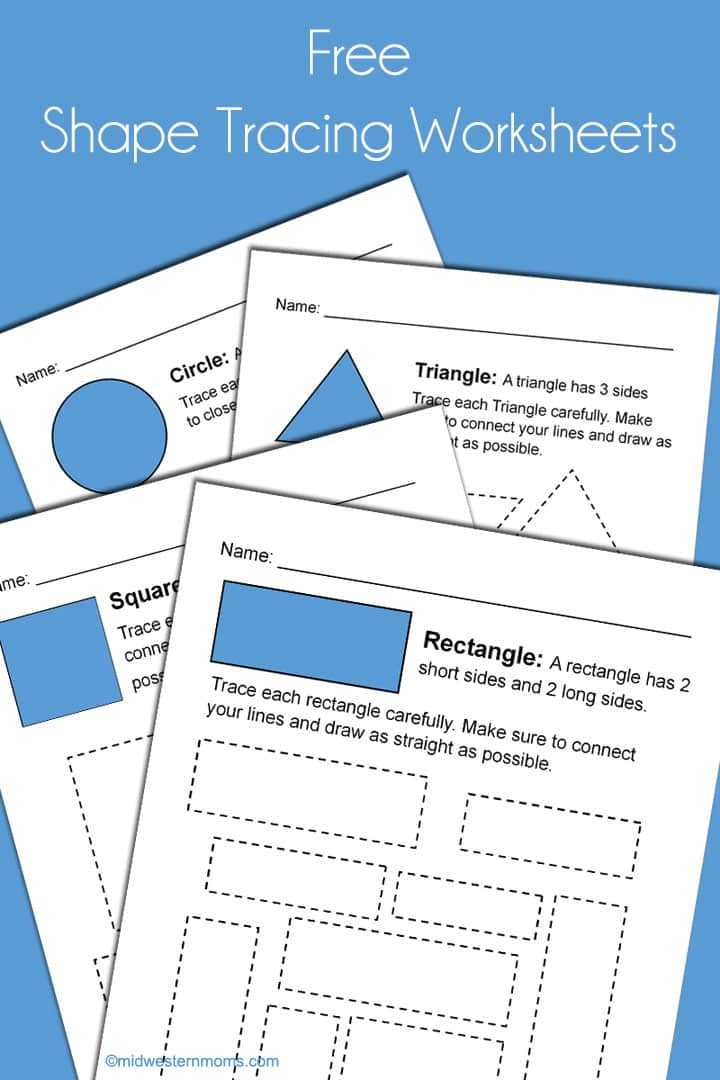 Shapes Worksheets for Preschool together with Shape Tracing Worksheets for Kindergarten Midwestern Moms