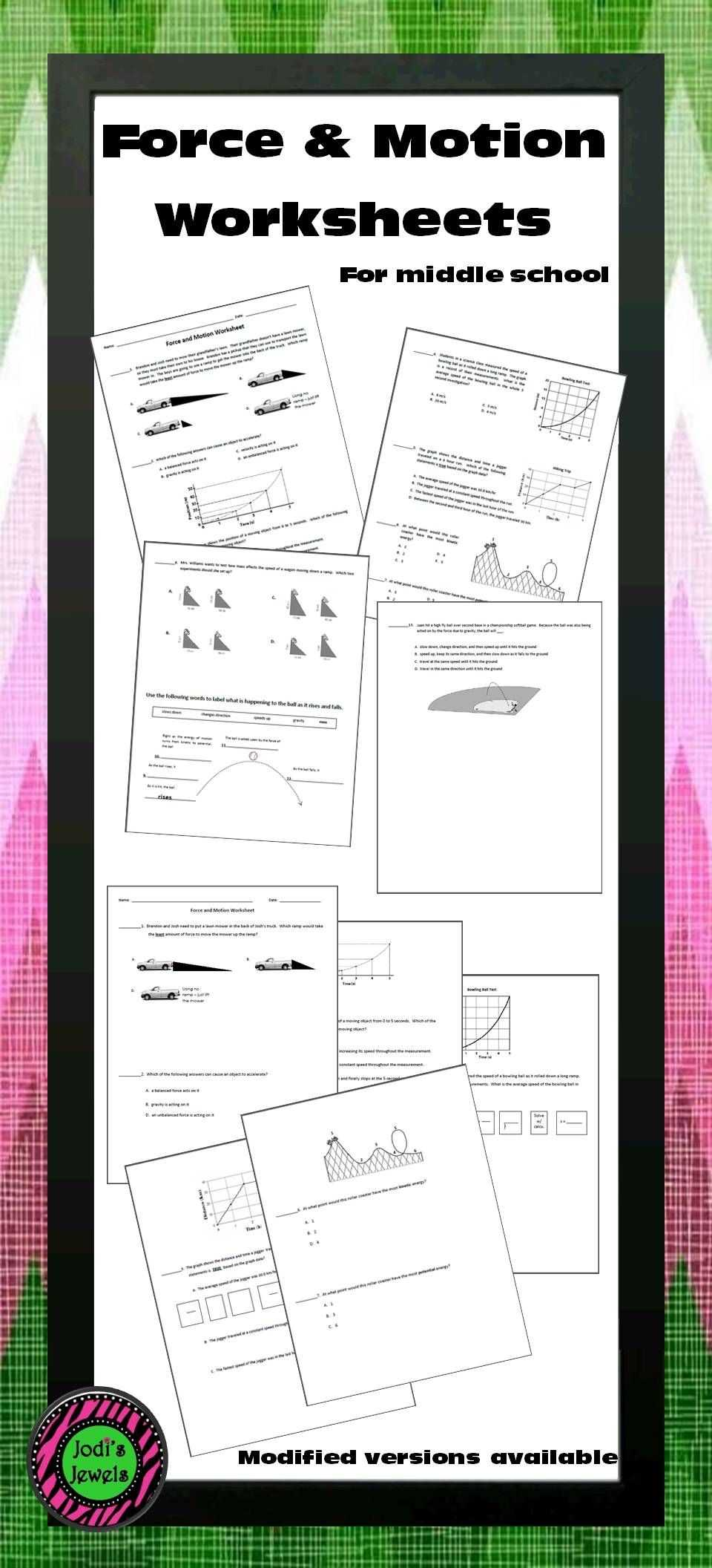 Speed Velocity and Acceleration Worksheet Answer Key as Well as force and Motion Worksheet Pinterest