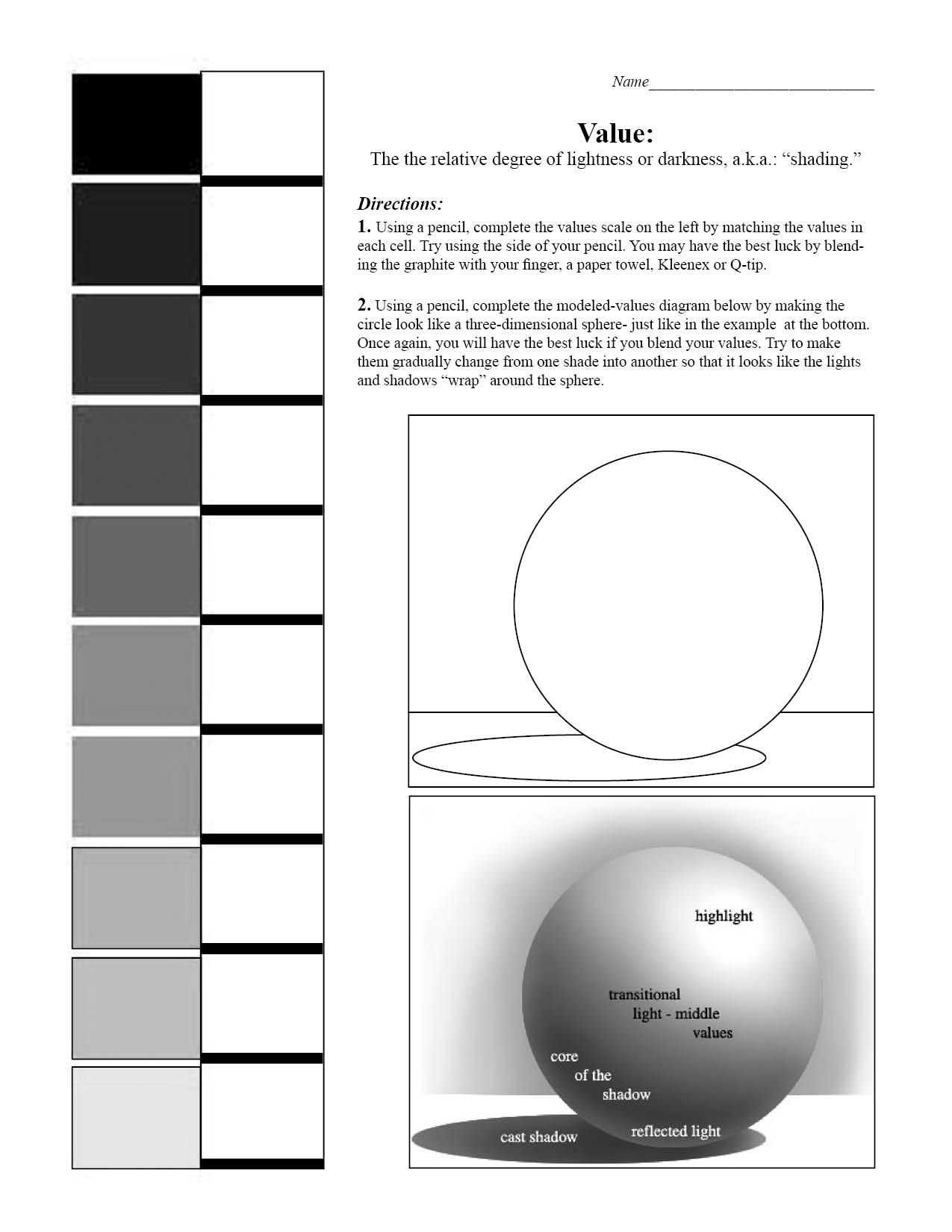 Story Elements Worksheet Pdf as Well as Value Scale and Sphere Worksheet 7th Grade Art Blending Value