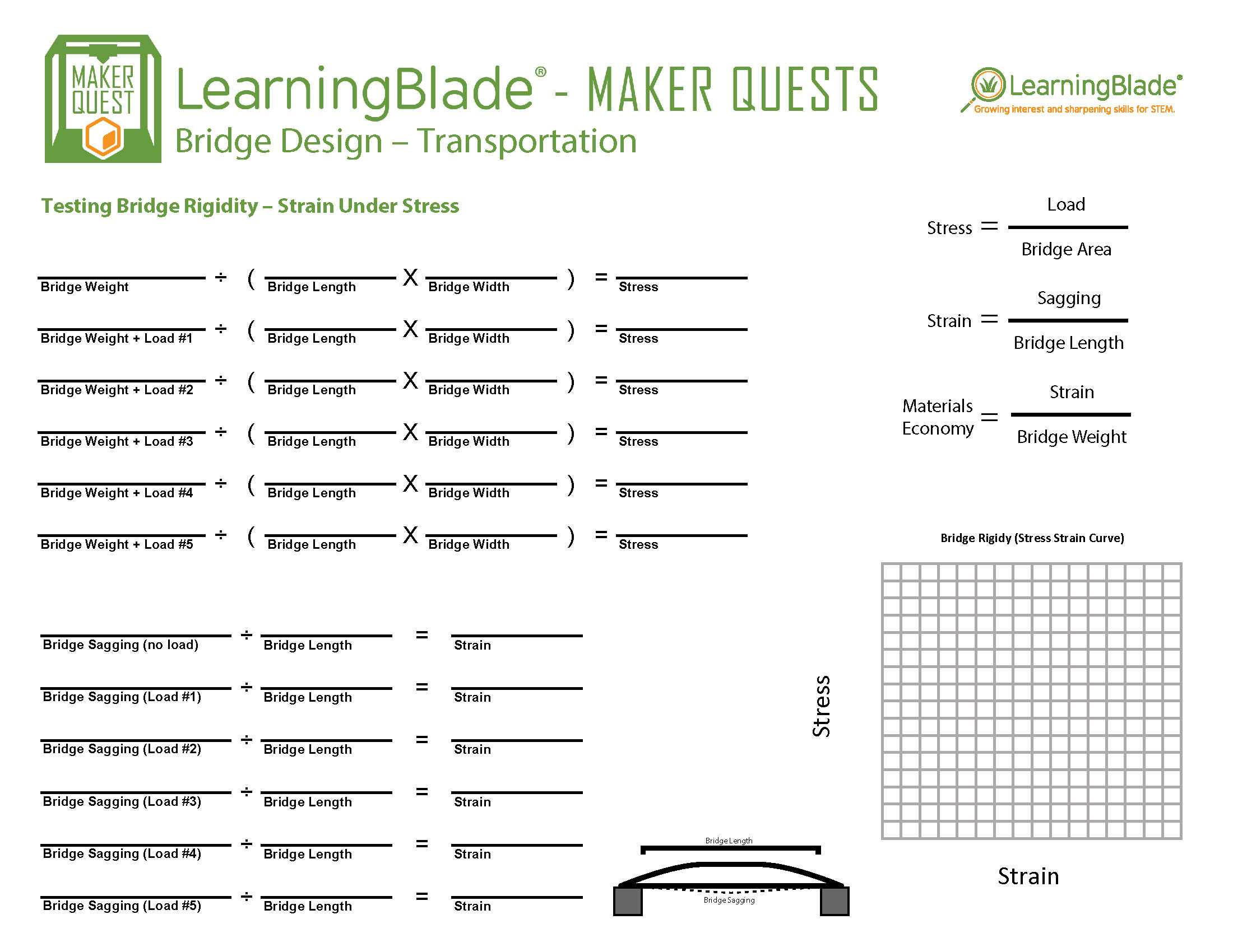 Tape Measure Worksheet Along with Learning Blade 3d Maker Quest Bridge Design by