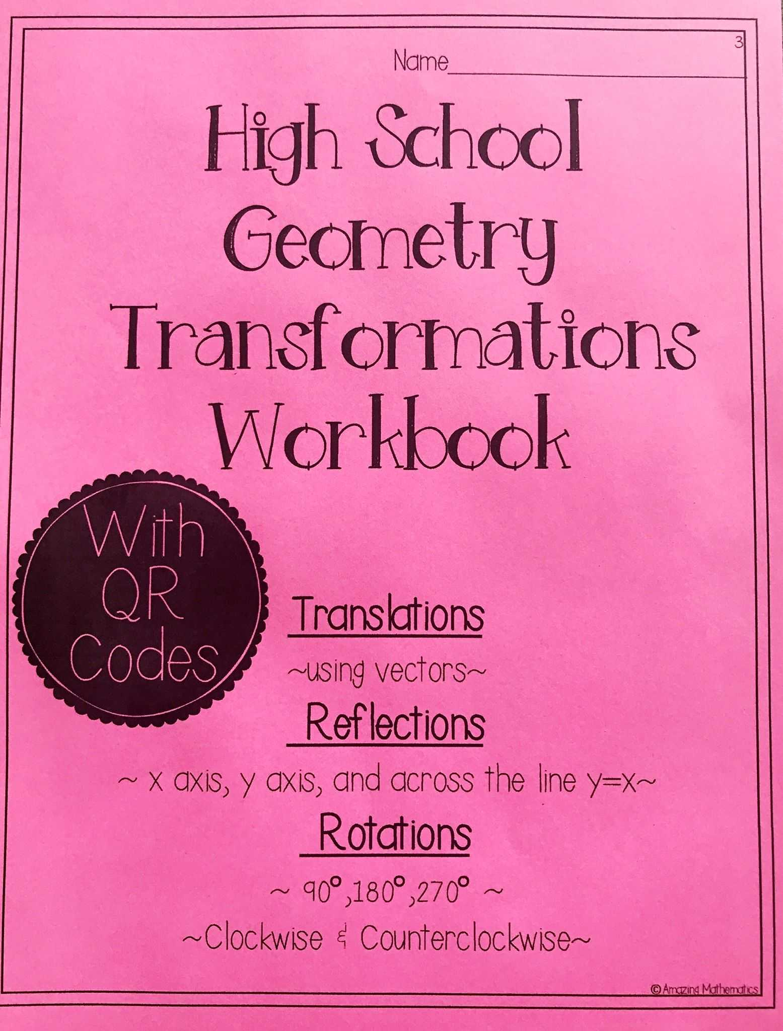 Translation Practice Worksheet Along with Hs Geometry Transformations Workbook Translations Rotations