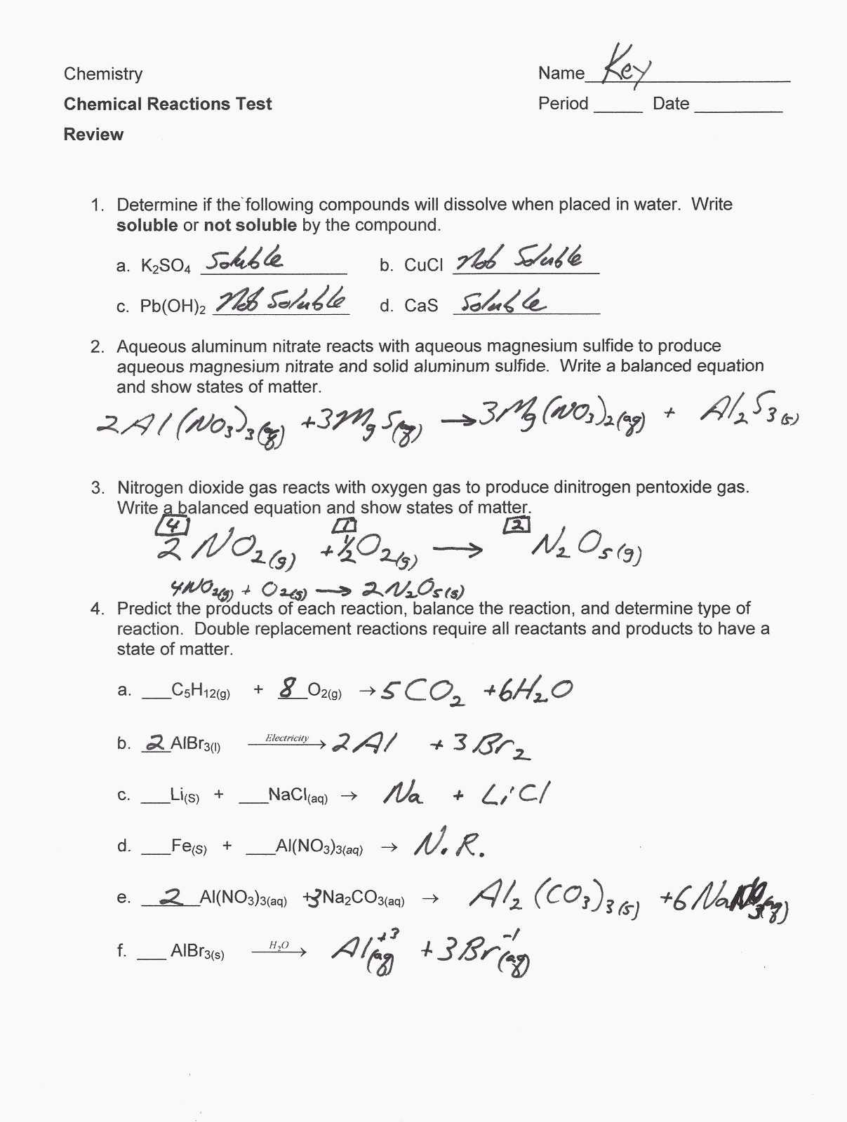Types Of Chemical Reactions Worksheet Answers as Well as Single Replacement Reaction Worksheet Wp Landingpages