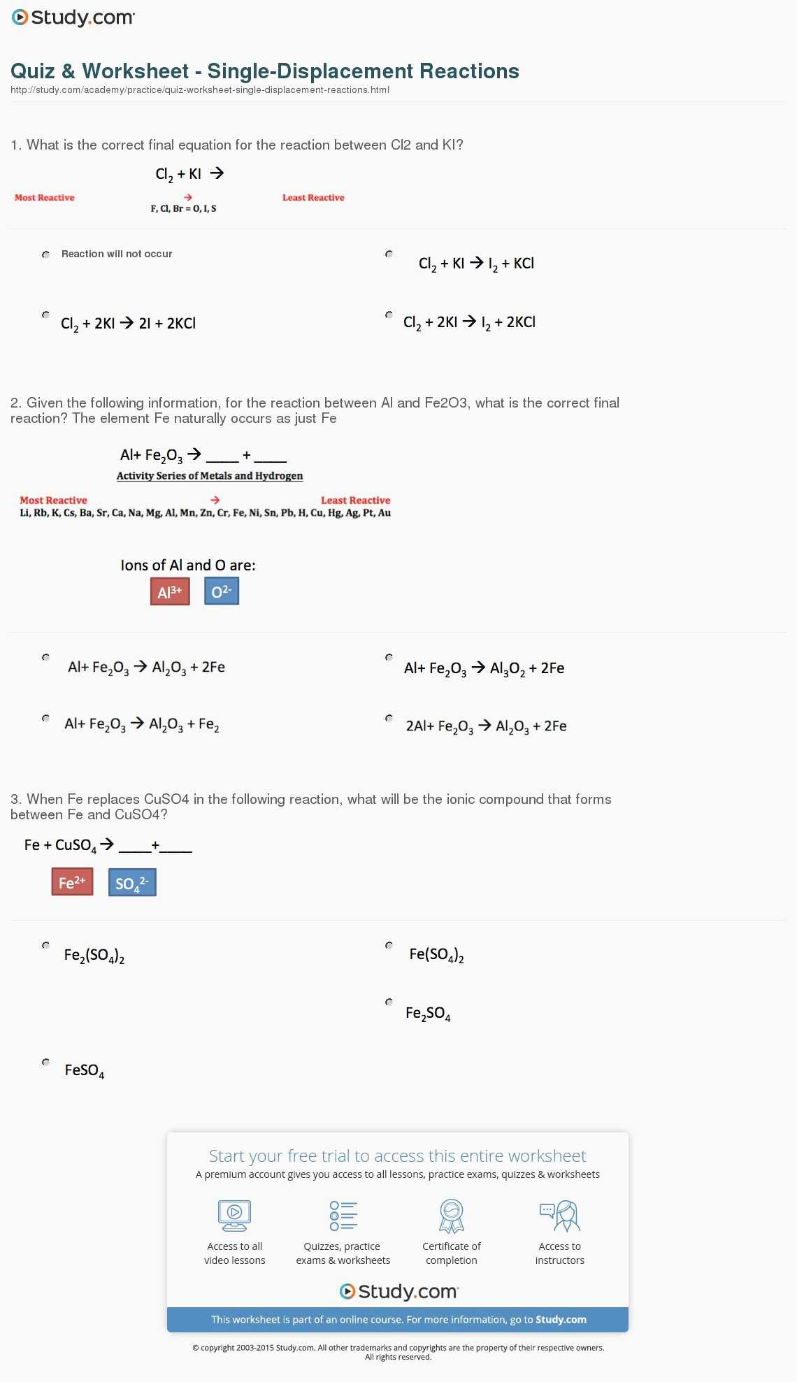 Types Of Chemical Reactions Worksheet Answers or Single Replacement Reaction Worksheet Wp Landingpages
