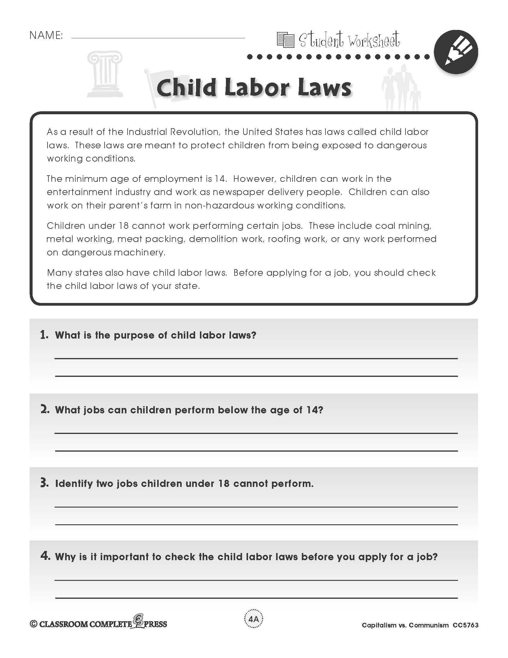 Weaknesses Of the Articles Of Confederation Worksheet as Well as Learn About Child Labor Laws In the U S In This Free Activity From