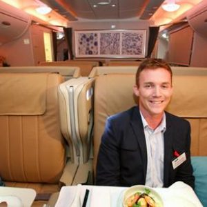 Julian Hayward aboard the first Airbus A380 delivered to Singapore Airlines during the official handover in Toulouse earlier this week.
