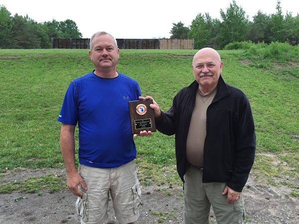 John Luitink (l) receives his 2015 Michigan Fullbore Prone Championship plaque from Charles Hayes, Secretary MRPA
