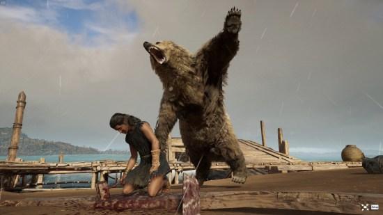 Sometimes, life is(/on) a bit(/ea)ch. Moment totalement non scripté d'ailleurs, un ours démonte proprement une villageoise.