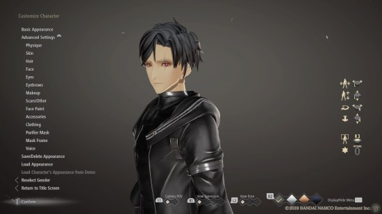 Code Vein PS4 éditeur de personnage