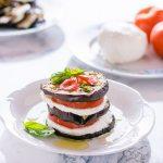 Torrette di melanzane pomodori e mozzarella light